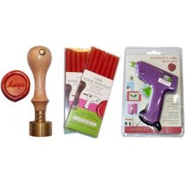 Pack gun + wax + stamper 1 firstname 20mm