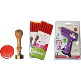 Pack gun + wax + stamper 2,3 initials and date 30 mm