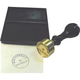 Stamp brass relief 30 mm diameter ex-libris