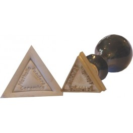 Triangular relief brass stamp with logo and base frame 25 mm x 25 mm