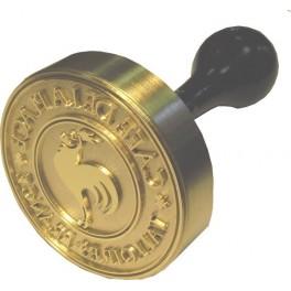 Stamp brass relief 60 mm diameter ex-libris