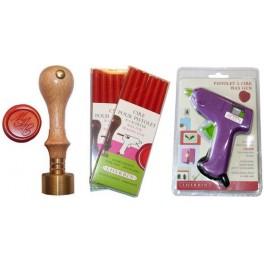 Pack gun + wax + stamper 2,3 initials 20mm