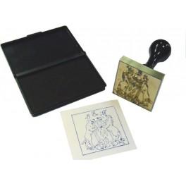 Stamp brass relief 50x50 mm ex-libris