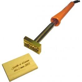 Marque à chaud pour le bois 1, 2 ou 3 lignes 45 mm x 30 mm