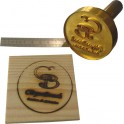 Block for hot stamp on wood diameter 60 mm with logo and, or text.