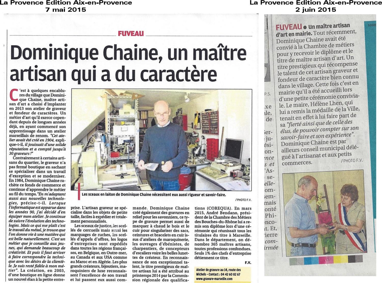 2 articles de La Provence sur l'atelier de gravure Chaine